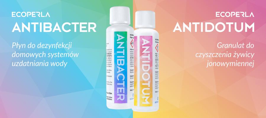 Ecoperla Antidotum i Ecoperla Antibacter - preparaty do konserwacji filtrów wody